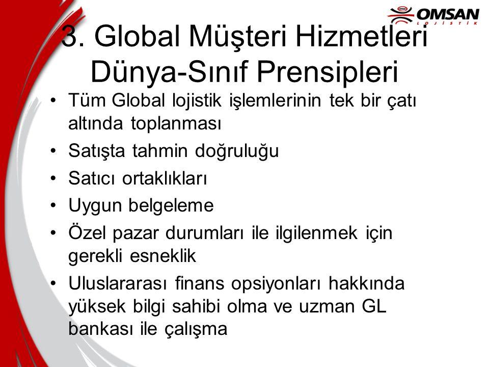 3. Global Müşteri Hizmetleri Dünya-Sınıf Prensipleri Tüm Global lojistik işlemlerinin tek bir çatı altında toplanması Satışta tahmin doğruluğu Satıcı