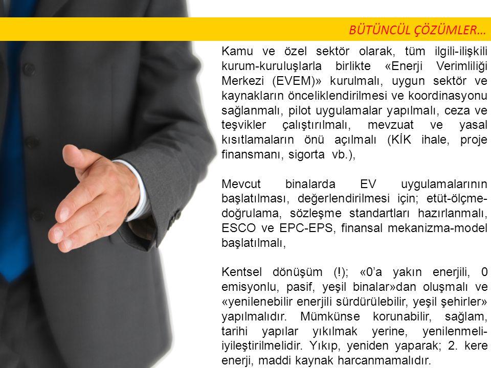 Kamu ve özel sektör olarak, tüm ilgili-ilişkili kurum-kuruluşlarla birlikte «Enerji Verimliliği Merkezi (EVEM)» kurulmalı, uygun sektör ve kaynakların