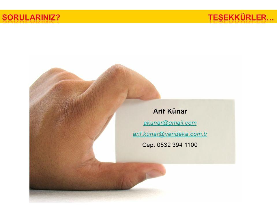 Arif Künar akunar@gmail.com arif.kunar@vendeka.com.tr Cep: 0532 394 1100