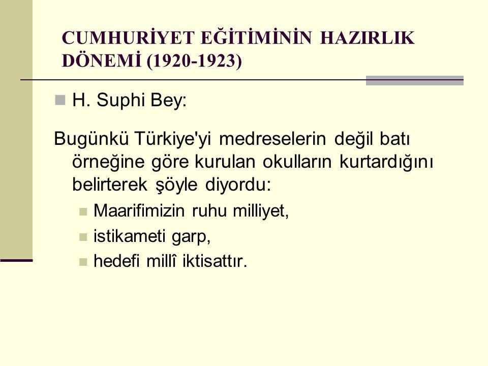 CUMHURİYET EĞİTİMİNİN HAZIRLIK DÖNEMİ (1920-1923) H. Suphi Bey: Bugünkü Türkiye'yi medreselerin değil batı örneğine göre kurulan okulların kurtardığın
