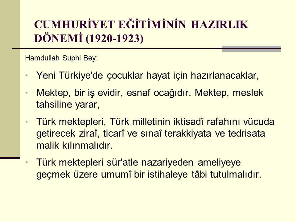 CUMHURİYET EĞİTİMİNİN HAZIRLIK DÖNEMİ (1920-1923) Hamdullah Suphi Bey: Yeni Türkiye'de çocuklar hayat için hazırlanacaklar, Mektep, bir iş evidir, esn