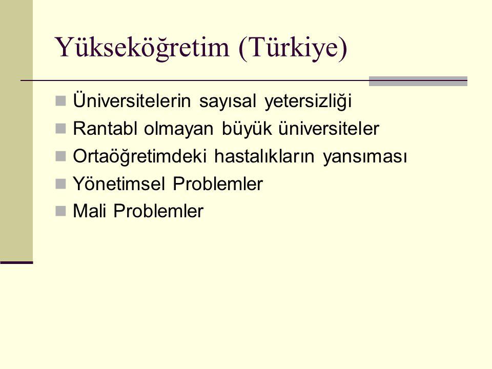 Yükseköğretim (Türkiye) Üniversitelerin sayısal yetersizliği Rantabl olmayan büyük üniversiteler Ortaöğretimdeki hastalıkların yansıması Yönetimsel Problemler Mali Problemler