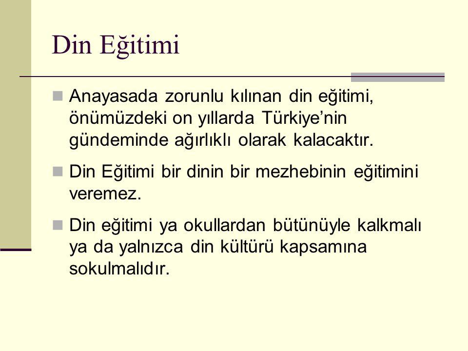 Din Eğitimi Anayasada zorunlu kılınan din eğitimi, önümüzdeki on yıllarda Türkiye'nin gündeminde ağırlıklı olarak kalacaktır. Din Eğitimi bir dinin bi