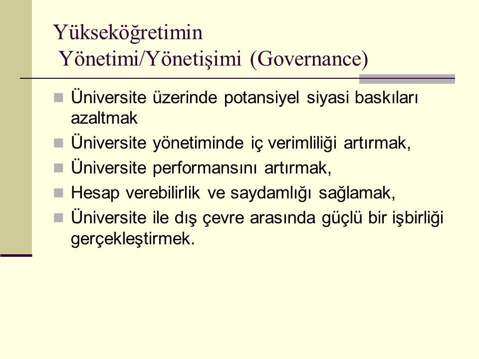 Yükseköğretimin Yönetimi/Yönetişimi (Governance) Üniversite üzerinde potansiyel siyasi baskıları azaltmak Üniversite yönetiminde iç verimliliği artırmak, Üniversite performansını artırmak, Hesap verebilirlik ve saydamlığı sağlamak, Üniversite ile dış çevre arasında güçlü bir işbirliği gerçekleştirmek.