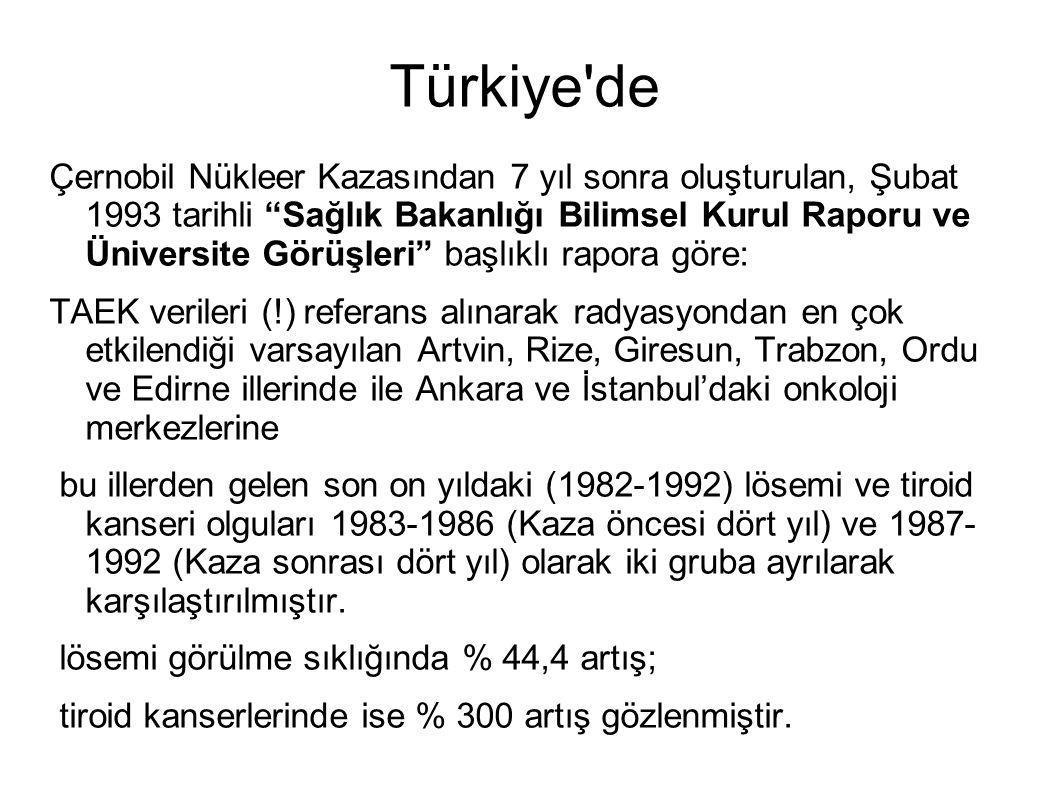 """Türkiye'de Çernobil Nükleer Kazasından 7 yıl sonra oluşturulan, Şubat 1993 tarihli """"Sağlık Bakanlığı Bilimsel Kurul Raporu ve Üniversite Görüşleri"""" ba"""