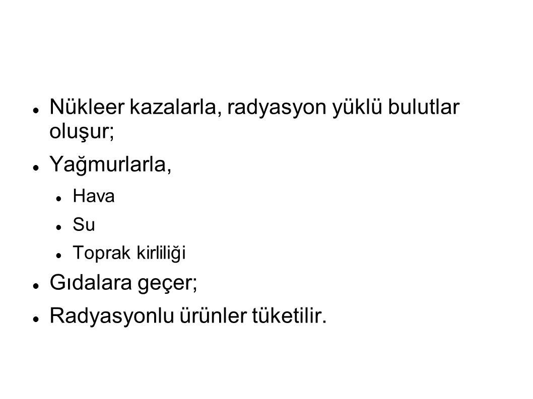Kaynak: Türkiye İçin Doz Değerlendirmeleri, TAEK; Haziran 2007.