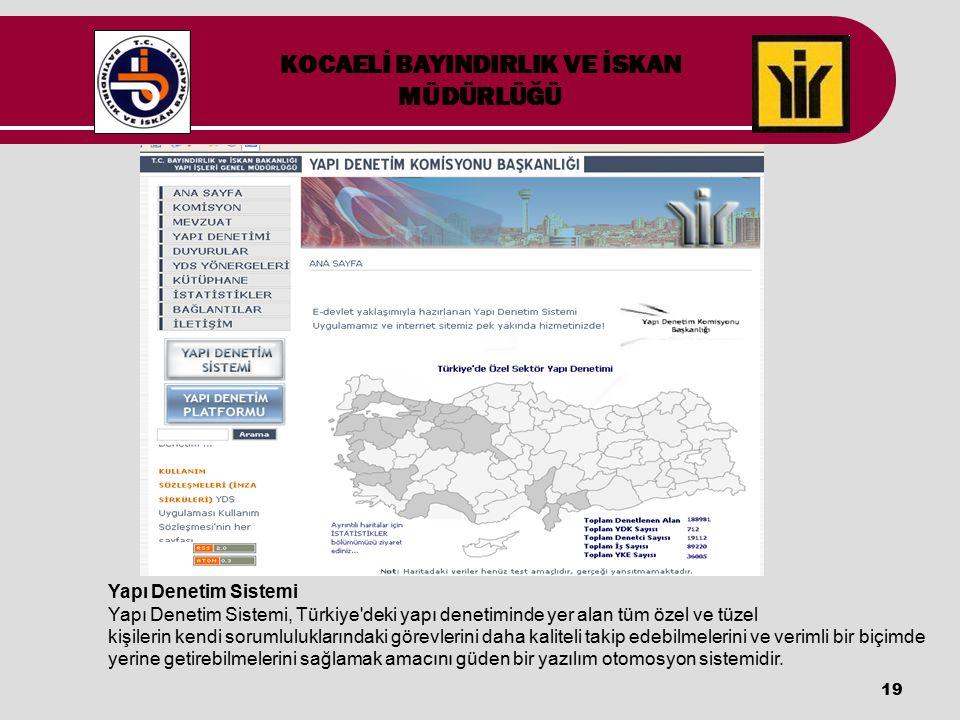 19 Yapı Denetim Sistemi Yapı Denetim Sistemi, Türkiye'deki yapı denetiminde yer alan tüm özel ve tüzel kişilerin kendi sorumluluklarındaki görevlerini