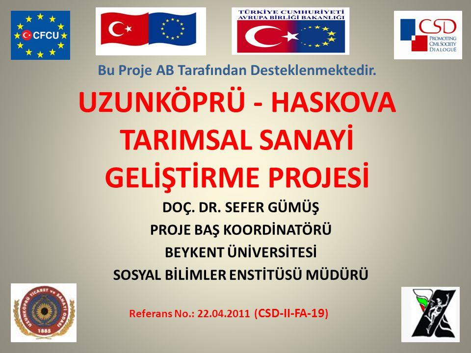 UZUNKÖPRÜ - HASKOVA TARIMSAL SANAYİ GELİŞTİRME PROJESİ DOÇ.