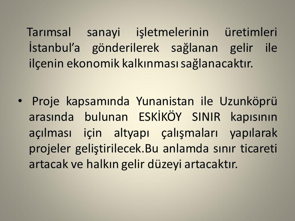 Tarımsal sanayi işletmelerinin üretimleri İstanbul'a gönderilerek sağlanan gelir ile ilçenin ekonomik kalkınması sağlanacaktır.