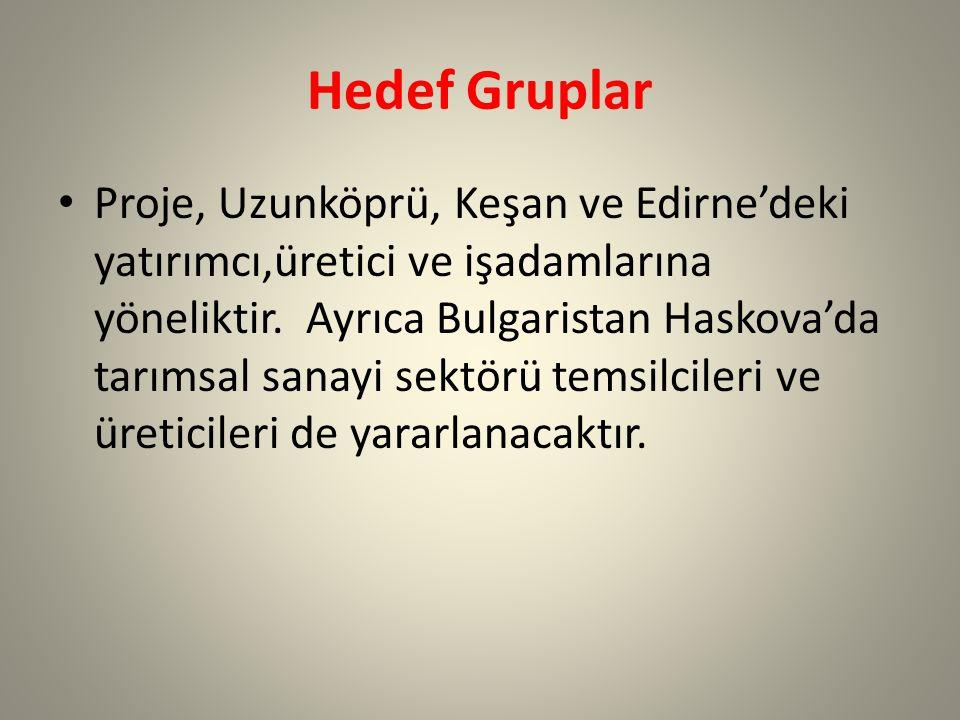 Hedef Gruplar Proje, Uzunköprü, Keşan ve Edirne'deki yatırımcı,üretici ve işadamlarına yöneliktir.