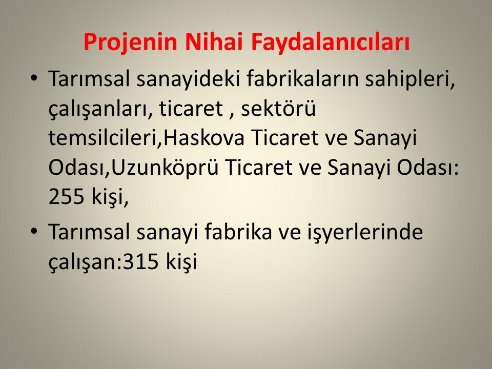 Projenin Nihai Faydalanıcıları Tarımsal sanayideki fabrikaların sahipleri, çalışanları, ticaret, sektörü temsilcileri,Haskova Ticaret ve Sanayi Odası,Uzunköprü Ticaret ve Sanayi Odası: 255 kişi, Tarımsal sanayi fabrika ve işyerlerinde çalışan:315 kişi