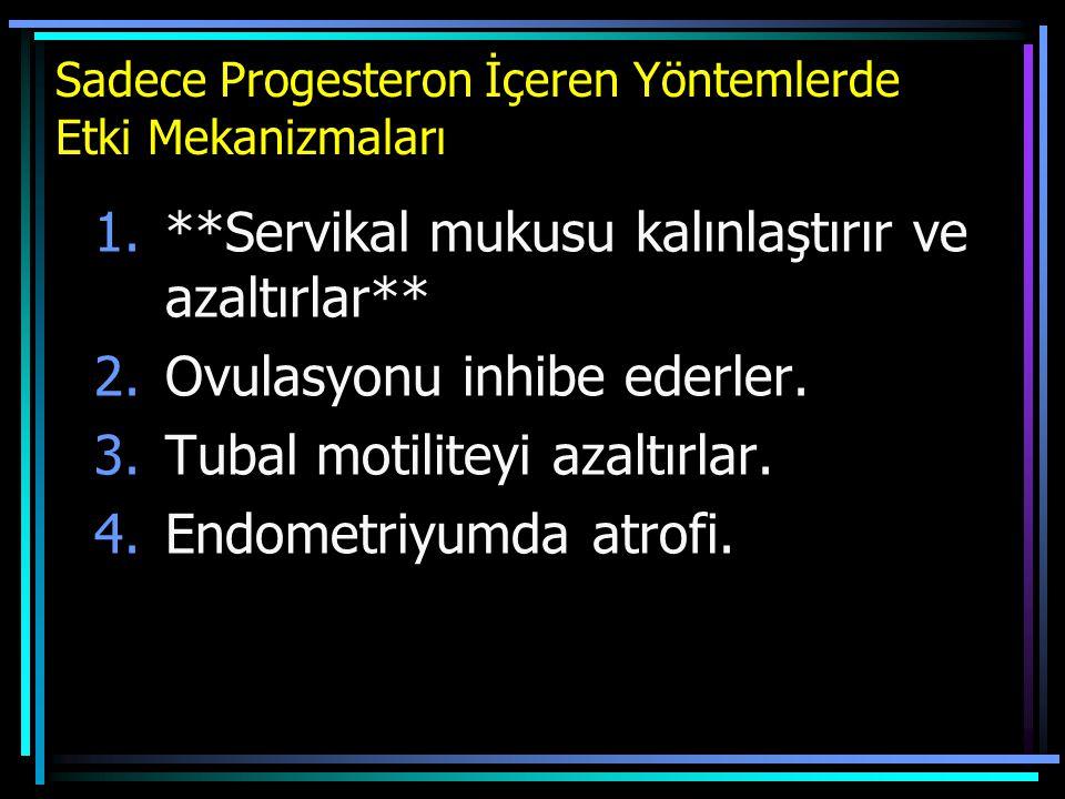 Sadece Progesteron İçeren Yöntemlerde Etki Mekanizmaları 1.**Servikal mukusu kalınlaştırır ve azaltırlar** 2.Ovulasyonu inhibe ederler. 3.Tubal motili