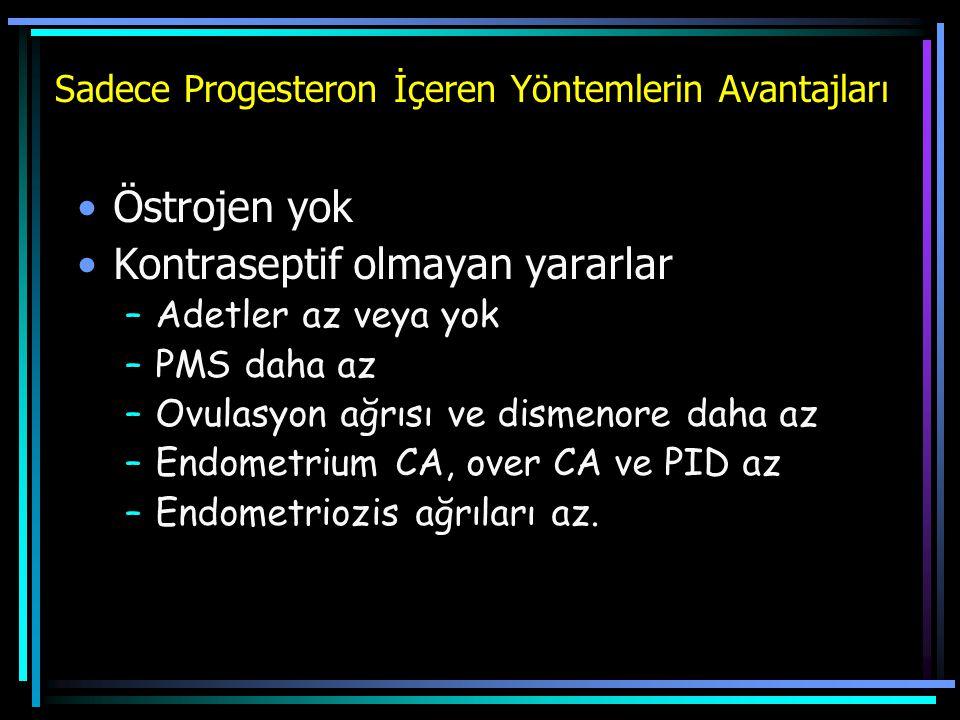 Sadece Progesteron İçeren Yöntemlerin Avantajları Östrojen yok Kontraseptif olmayan yararlar –Adetler az veya yok –PMS daha az –Ovulasyon ağrısı ve di
