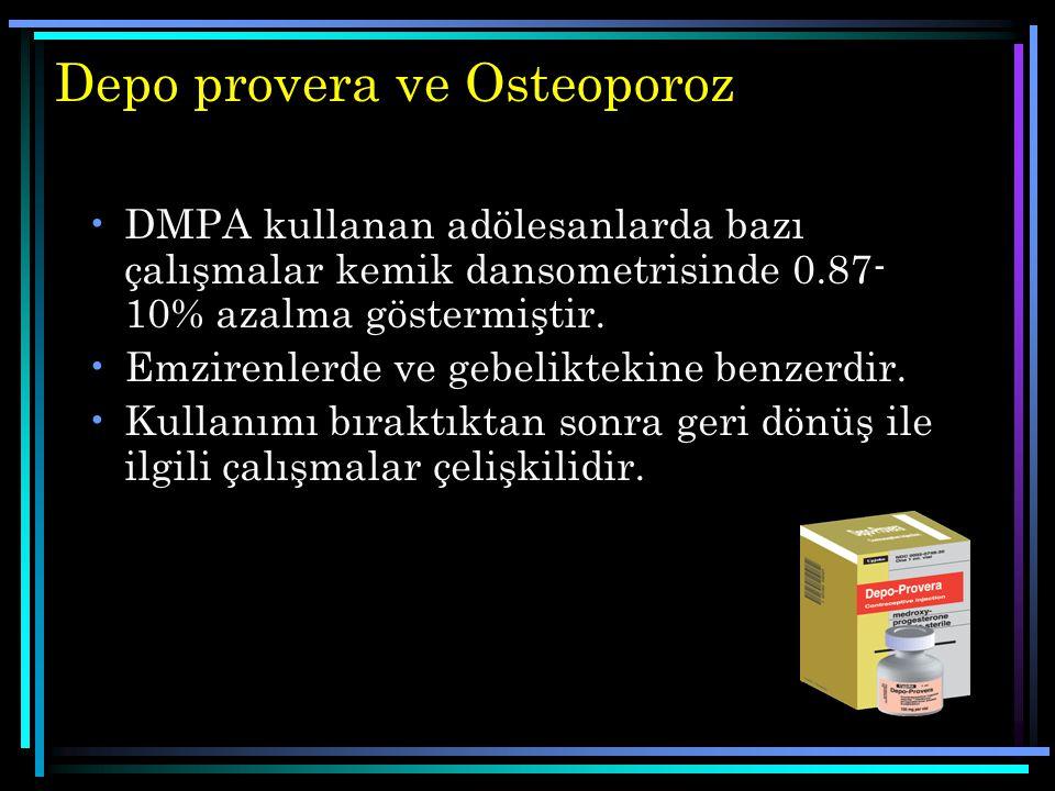 Depo provera ve Osteoporoz DMPA kullanan adölesanlarda bazı çalışmalar kemik dansometrisinde 0.87- 10% azalma göstermiştir. Emzirenlerde ve gebeliktek