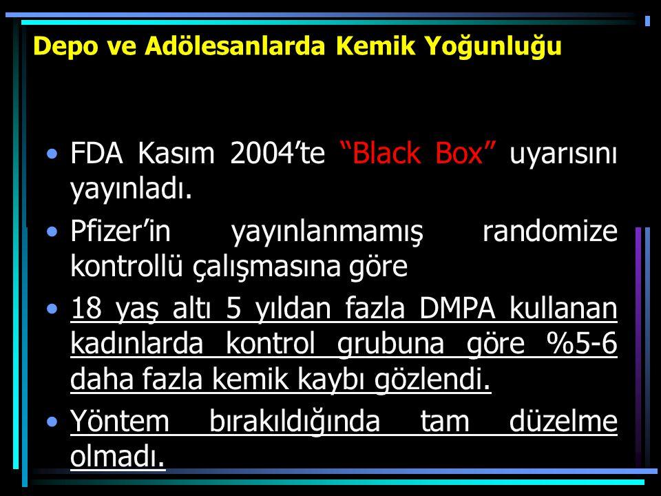 """Depo ve Adölesanlarda Kemik Yoğunluğu FDA Kasım 2004'te """"Black Box"""" uyarısını yayınladı. Pfizer'in yayınlanmamış randomize kontrollü çalışmasına göre"""
