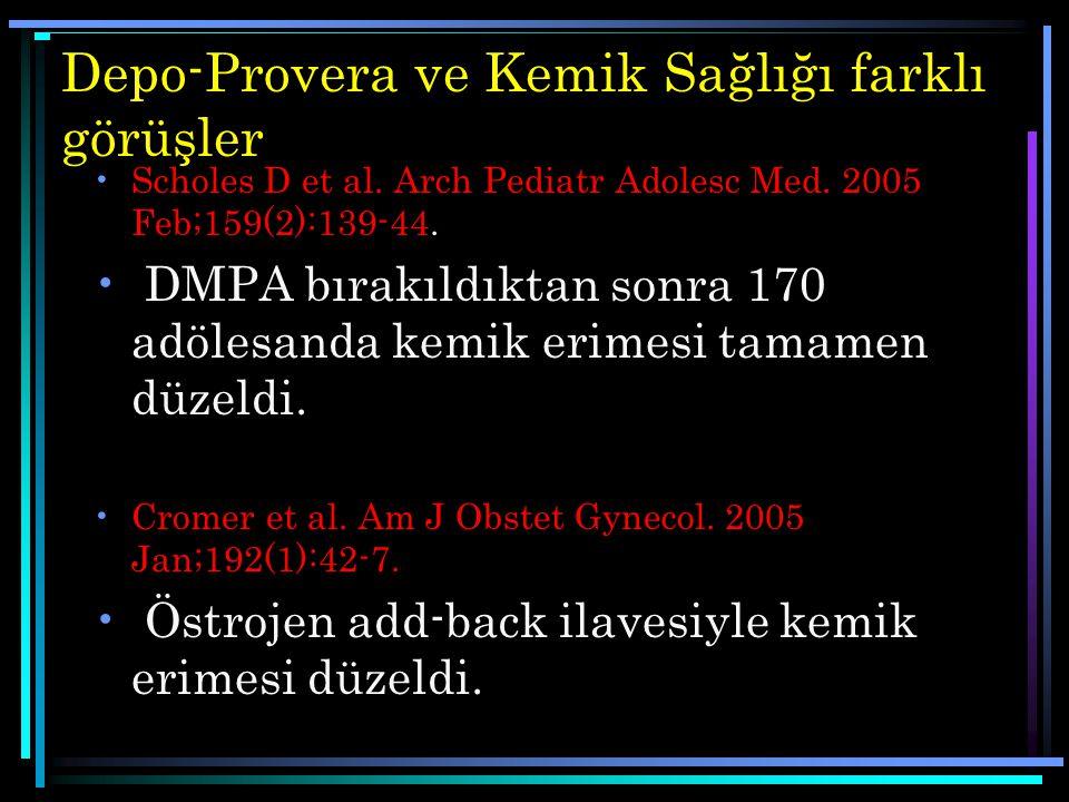 Depo-Provera ve Kemik Sağlığı farklı görüşler Scholes D et al. Arch Pediatr Adolesc Med. 2005 Feb;159(2):139-44. DMPA bırakıldıktan sonra 170 adölesan