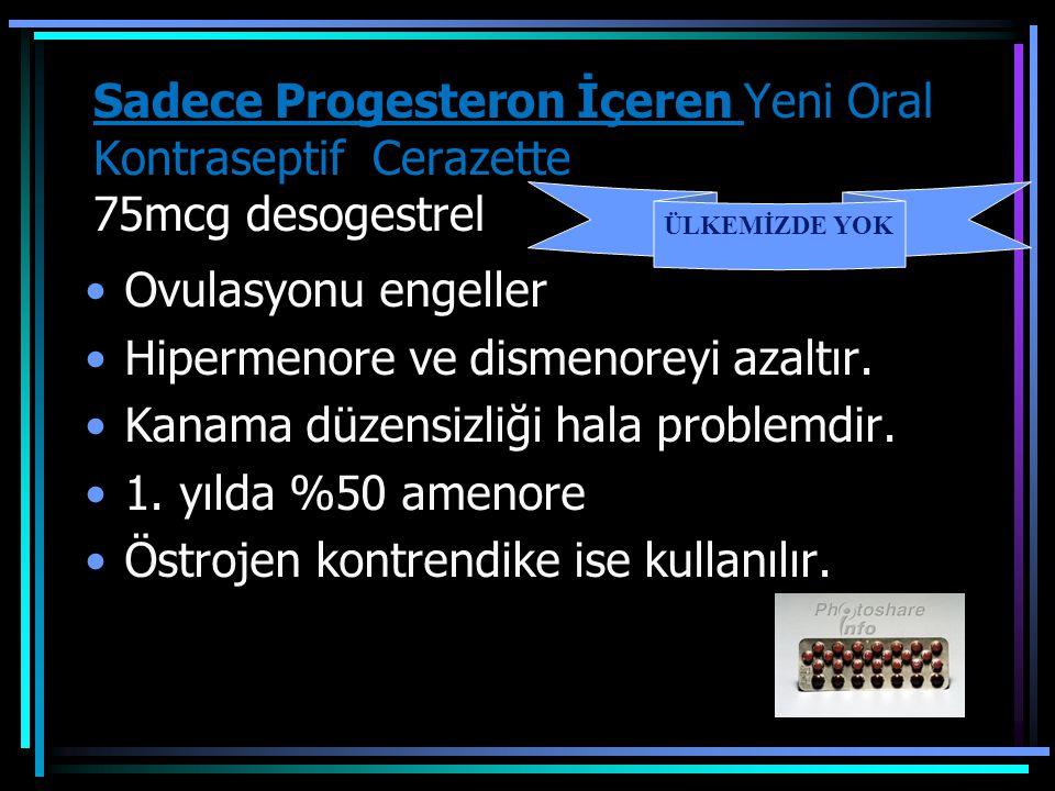 Sadece Progesteron İçeren Yeni Oral Kontraseptif Cerazette 75mcg desogestrel Ovulasyonu engeller Hipermenore ve dismenoreyi azaltır. Kanama düzensizli