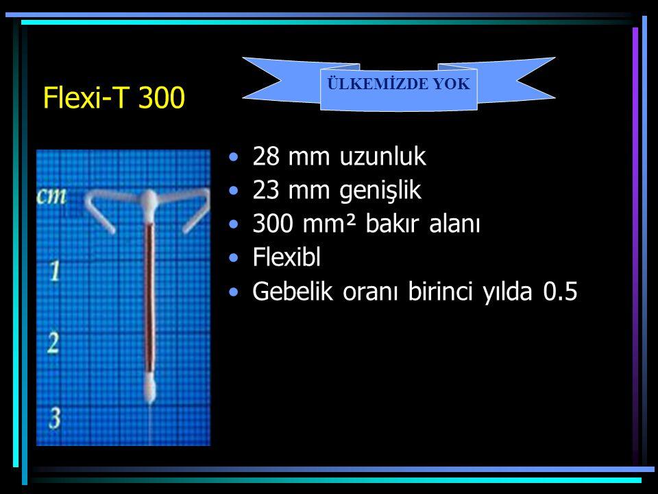 Flexi-T 300 28 mm uzunluk 23 mm genişlik 300 mm² bakır alanı Flexibl Gebelik oranı birinci yılda 0.5 ÜLKEMİZDE YOK