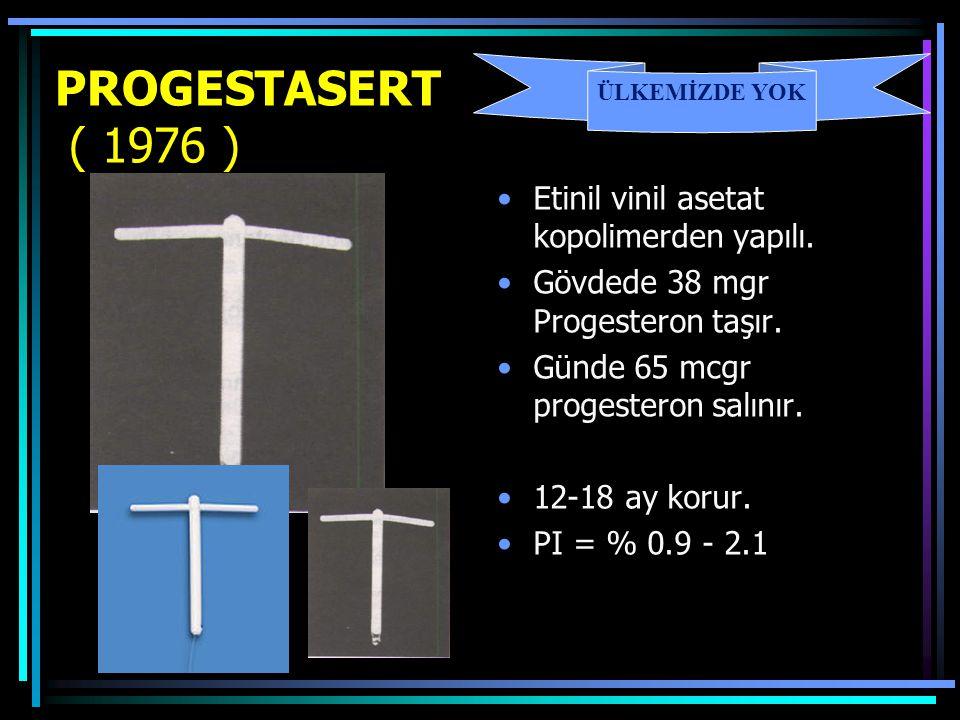 PROGESTASERT ( 1976 ) Etinil vinil asetat kopolimerden yapılı. Gövdede 38 mgr Progesteron taşır. Günde 65 mcgr progesteron salınır. 12-18 ay korur. PI