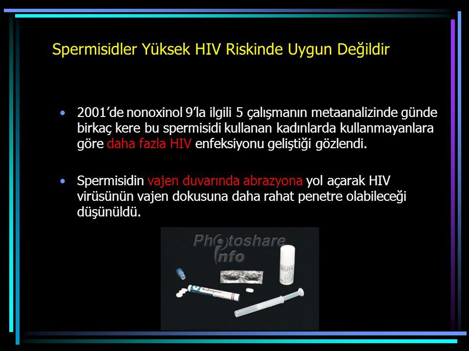 Spermisidler Yüksek HIV Riskinde Uygun Değildir 2001'de nonoxinol 9'la ilgili 5 çalışmanın metaanalizinde günde birkaç kere bu spermisidi kullanan kad