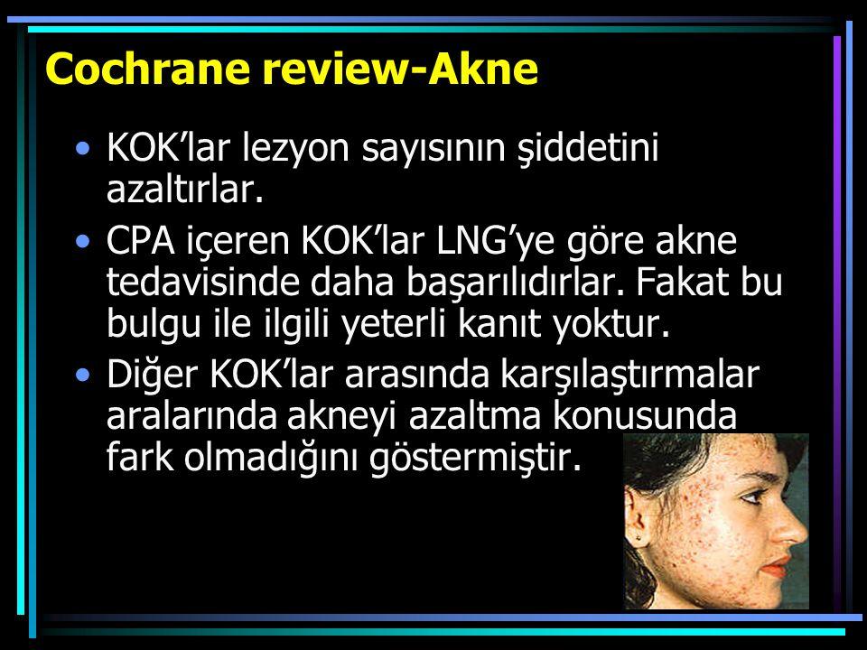 Cochrane review-Akne KOK'lar lezyon sayısının şiddetini azaltırlar. CPA içeren KOK'lar LNG'ye göre akne tedavisinde daha başarılıdırlar. Fakat bu bulg