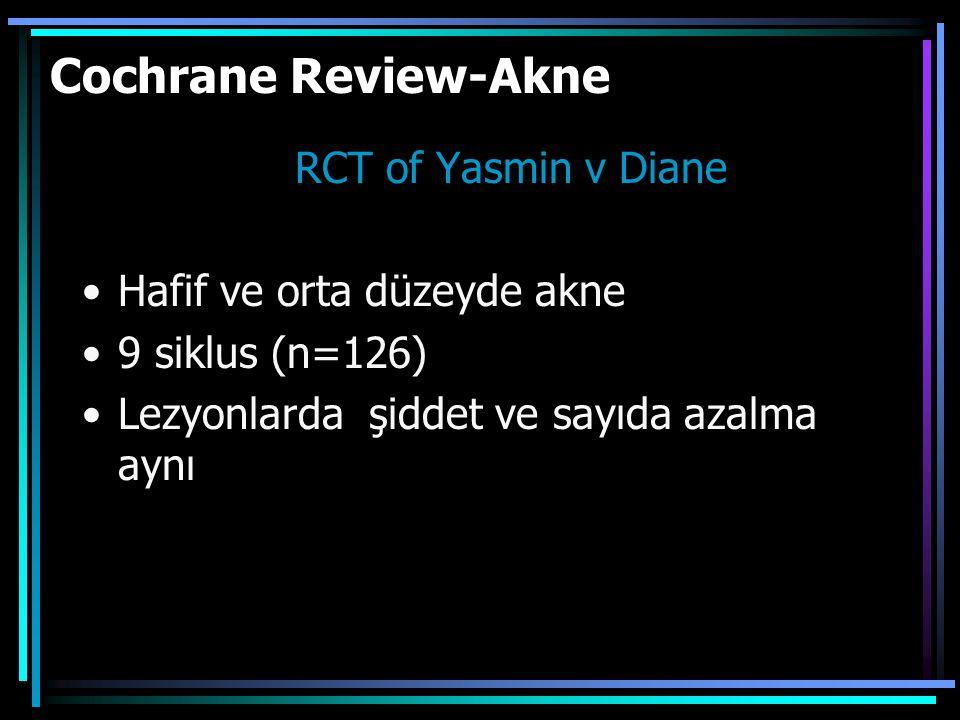 Cochrane Review-Akne RCT of Yasmin v Diane Hafif ve orta düzeyde akne 9 siklus (n=126) Lezyonlarda şiddet ve sayıda azalma aynı