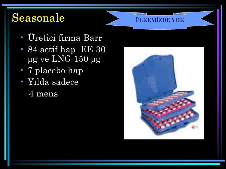 Seasonale Üretici firma Barr 84 actif hap EE 30 µg ve LNG 150 µg 7 placebo hap Yılda sadece 4 mens ÜLKEMİZDE YOK