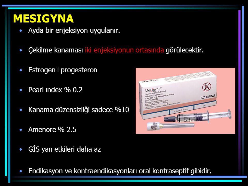 MESIGYNA Ayda bir enjeksiyon uygulanır. Çekilme kanaması iki enjeksiyonun ortasında görülecektir. Estrogen+progesteron Pearl ındex % 0.2 Kanama düzens