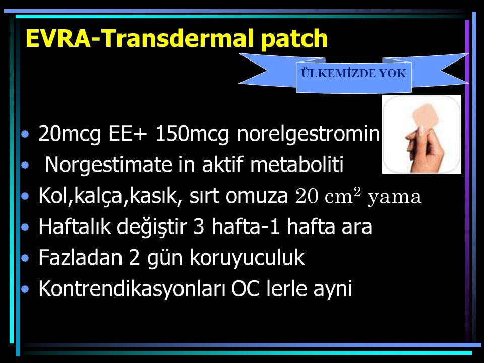 EVRA-Transdermal patch 20mcg EE+ 150mcg norelgestromin Norgestimate in aktif metaboliti Kol,kalça,kasık, sırt omuza 2 0 cm 2 yama Haftalık değiştir 3