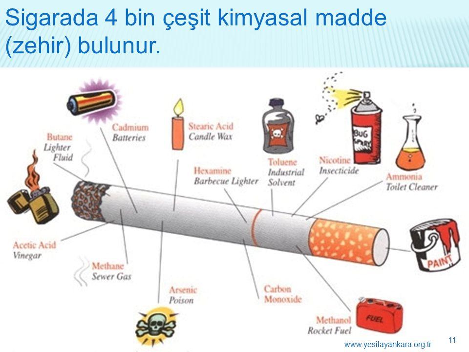 Sigarada 4 bin çeşit kimyasal madde (zehir) bulunur. 11 www.yesilayankara.org.tr