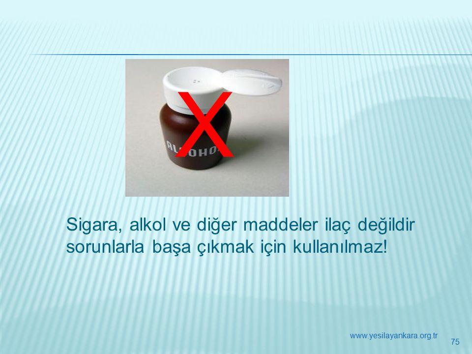 X Sigara, alkol ve diğer maddeler ilaç değildir sorunlarla başa çıkmak için kullanılmaz.