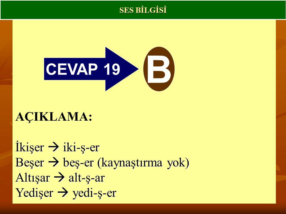 CEVAP 19 B AÇIKLAMA: İkişer  iki-ş-er Beşer  beş-er (kaynaştırma yok) Altışar  alt-ş-ar Yedişer  yedi-ş-er SES BİLGİSİ