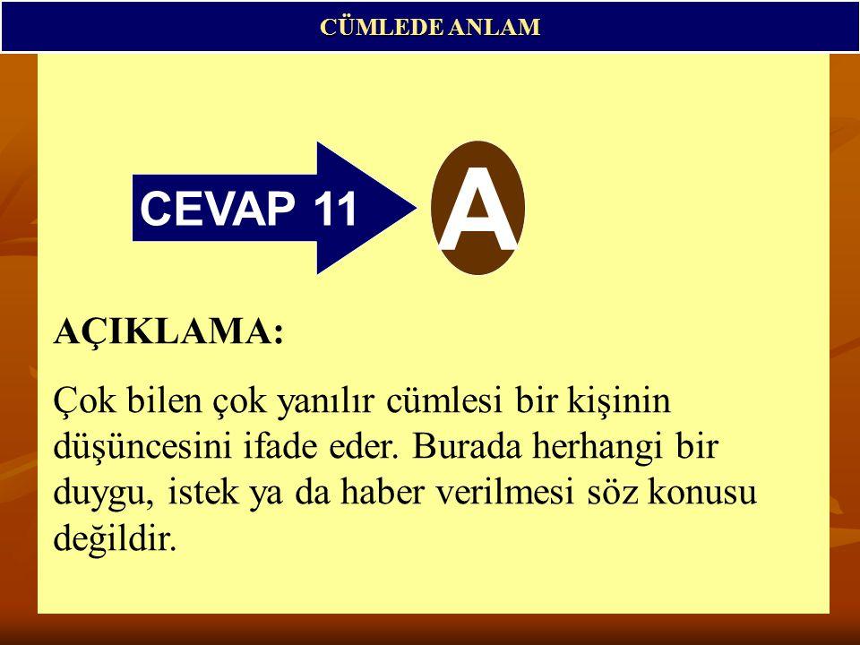CEVAP 11 A CÜMLEDE ANLAM AÇIKLAMA: Çok bilen çok yanılır cümlesi bir kişinin düşüncesini ifade eder.