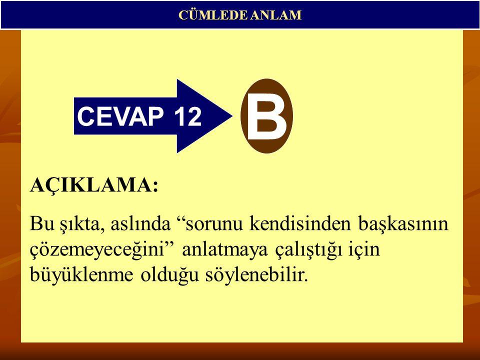 CEVAP 12 B CÜMLEDE ANLAM AÇIKLAMA: Bu şıkta, aslında sorunu kendisinden başkasının çözemeyeceğini anlatmaya çalıştığı için büyüklenme olduğu söylenebilir.