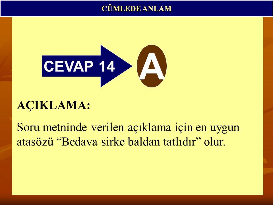 CEVAP 14 A CÜMLEDE ANLAM AÇIKLAMA: Soru metninde verilen açıklama için en uygun atasözü Bedava sirke baldan tatlıdır olur.