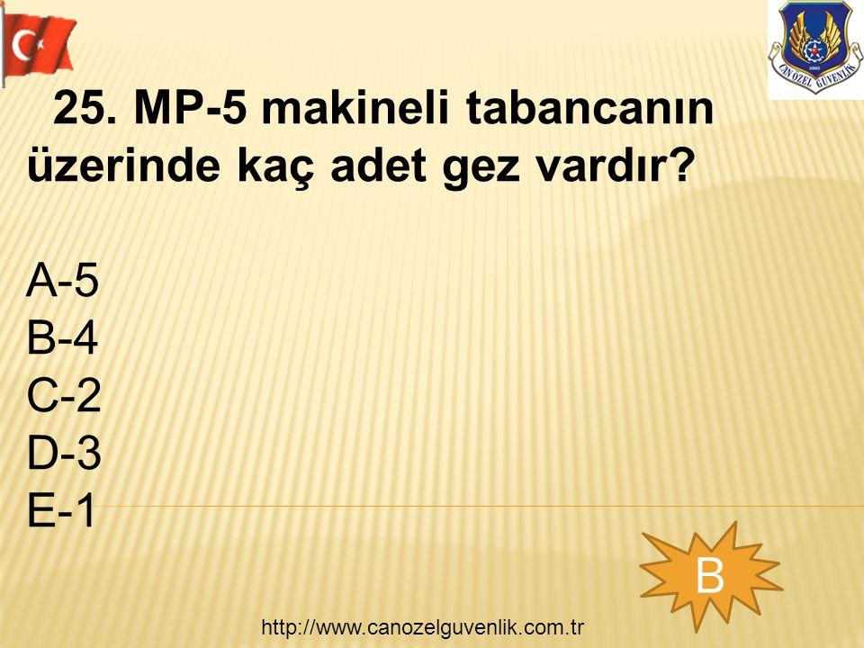 http://www.canozelguvenlik.com.tr B 25. MP-5 makineli tabancanın üzerinde kaç adet gez vardır? A-5 B-4 C-2 D-3 E-1
