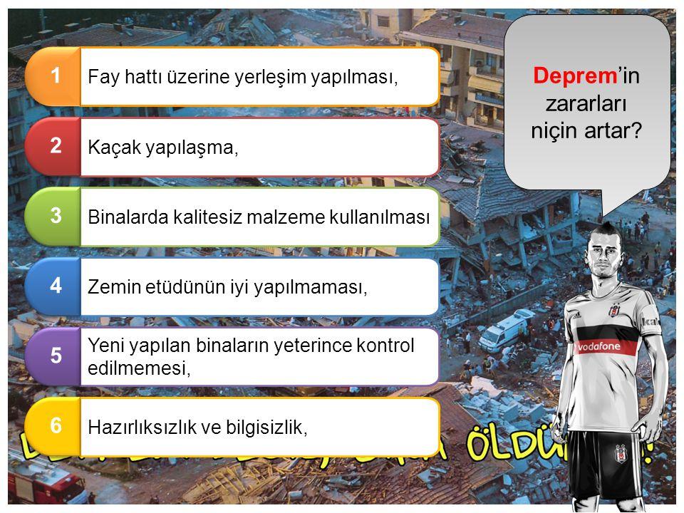 Deprem'in zararları niçin artar ? Fay hattı üzerine yerleşim yapılması, 1 1 Kaçak yapılaşma, 2 2 Binalarda kalitesiz malzeme kullanılması 3 3 Zemin et