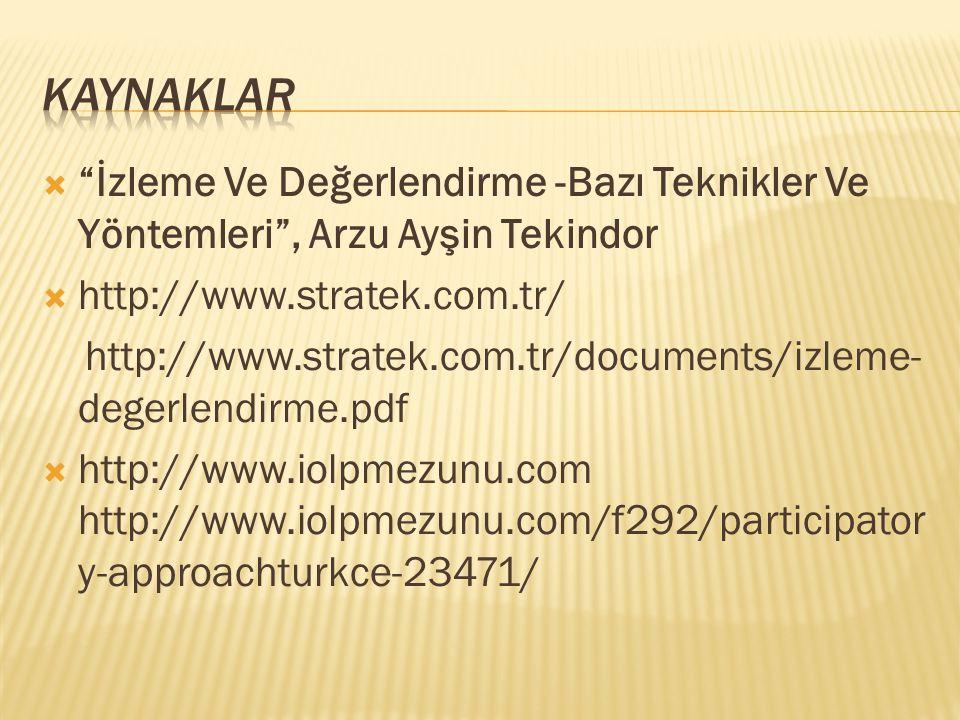  İzleme Ve Değerlendirme -Bazı Teknikler Ve Yöntemleri , Arzu Ayşin Tekindor  http://www.stratek.com.tr/ http://www.stratek.com.tr/documents/izleme- degerlendirme.pdf  http://www.iolpmezunu.com http://www.iolpmezunu.com/f292/participator y-approachturkce-23471/