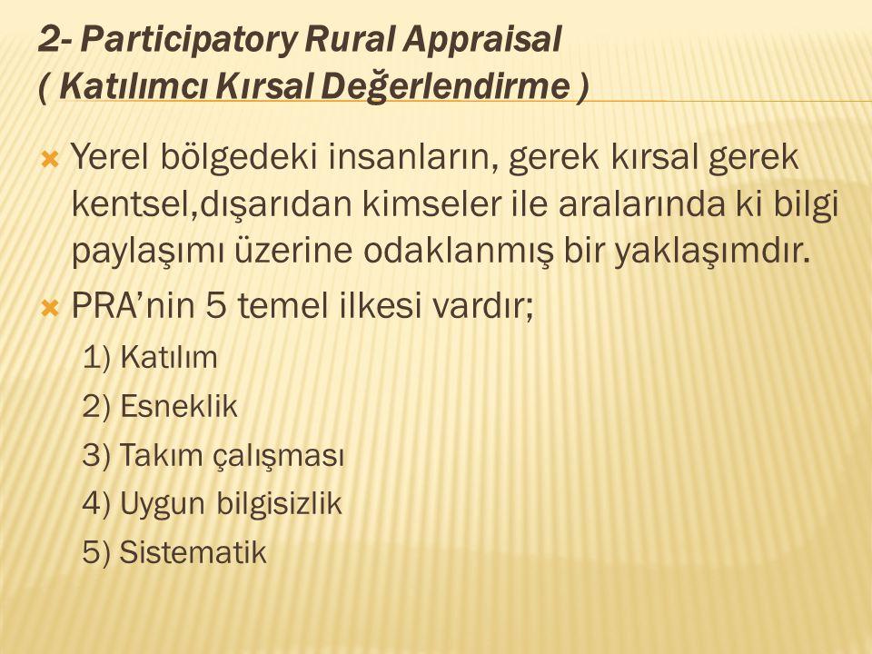 2- Participatory Rural Appraisal ( Katılımcı Kırsal Değerlendirme )  Yerel bölgedeki insanların, gerek kırsal gerek kentsel,dışarıdan kimseler ile aralarında ki bilgi paylaşımı üzerine odaklanmış bir yaklaşımdır.