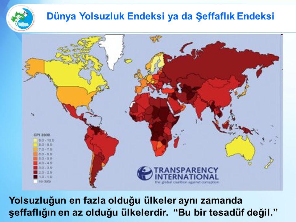 Dünya Yolsuzluk Endeksi ya da Şeffaflık Endeksi Yolsuzluğun en fazla olduğu ülkeler aynı zamanda şeffaflığın en az olduğu ülkelerdir.