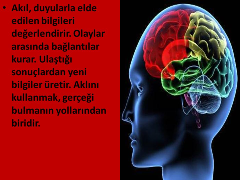 Akıl, duyularla elde edilen bilgileri değerlendirir. Olaylar arasında bağlantılar kurar. Ulaştığı sonuçlardan yeni bilgiler üretir. Aklını kullanmak,