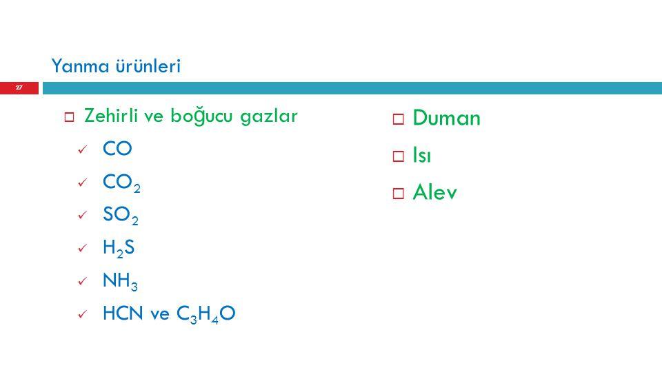 Yanma ürünleri  Zehirli ve bo ğ ucu gazlar CO CO 2 SO 2 H 2 S NH 3 HCN ve C 3 H 4 O  Duman  Isı  Alev 27