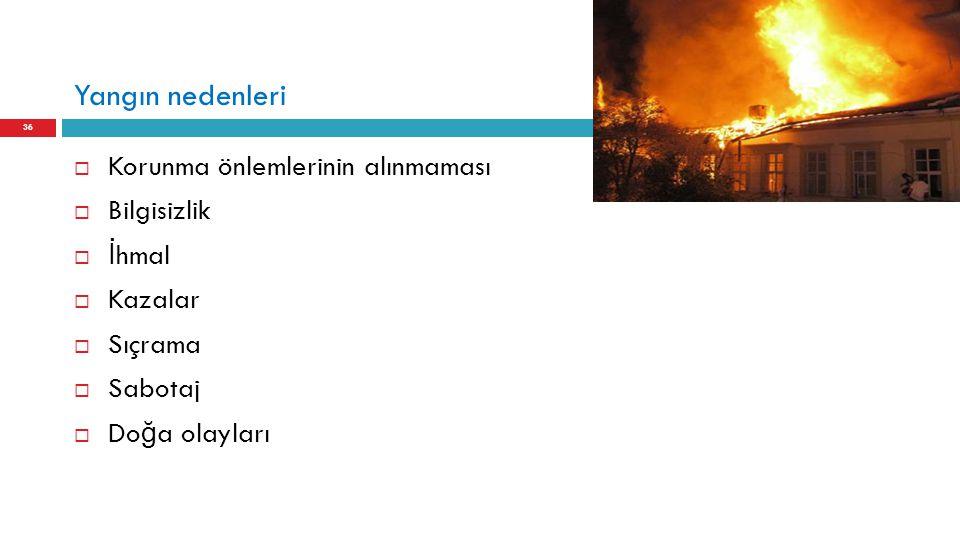 Yangın nedenleri  Korunma önlemlerinin alınmaması  Bilgisizlik  İ hmal  Kazalar  Sıçrama  Sabotaj  Do ğ a olayları 36