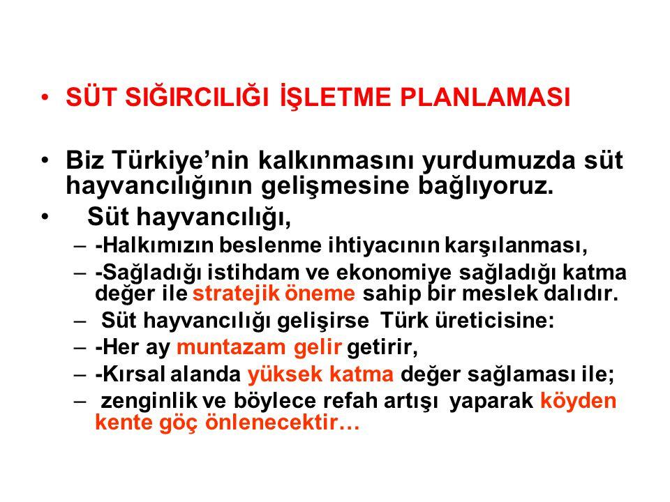 SÜT SIĞIRCILIĞI İŞLETME PLANLAMASI Biz Türkiye'nin kalkınmasını yurdumuzda süt hayvancılığının gelişmesine bağlıyoruz.