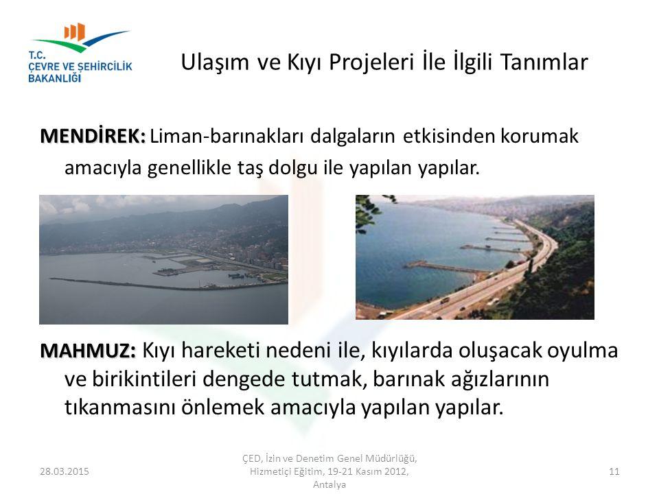 Ulaşım ve Kıyı Projeleri İle İlgili Tanımlar MENDİREK: MENDİREK: Liman-barınakları dalgaların etkisinden korumak amacıyla genellikle taş dolgu ile yap