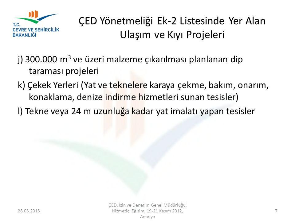 ÇED Yönetmeliği Ek-2 Listesinde Yer Alan Ulaşım ve Kıyı Projeleri j) 300.000 m 3 ve üzeri malzeme çıkarılması planlanan dip taraması projeleri k) Çeke