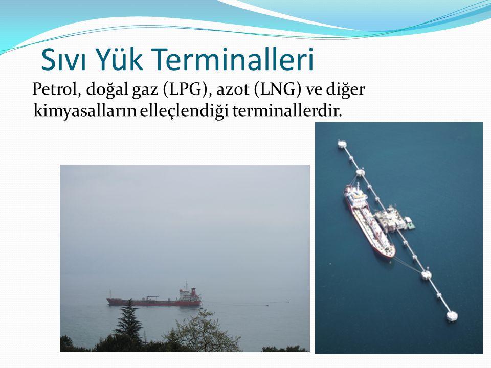 Sıvı Yük Terminalleri Petrol, doğal gaz (LPG), azot (LNG) ve diğer kimyasalların elleçlendiği terminallerdir.