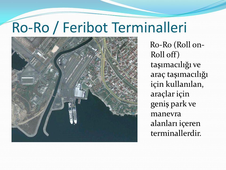 Ro-Ro / Feribot Terminalleri Ro-Ro (Roll on- Roll off) taşımacılığı ve araç taşımacılığı için kullanılan, araçlar için geniş park ve manevra alanları