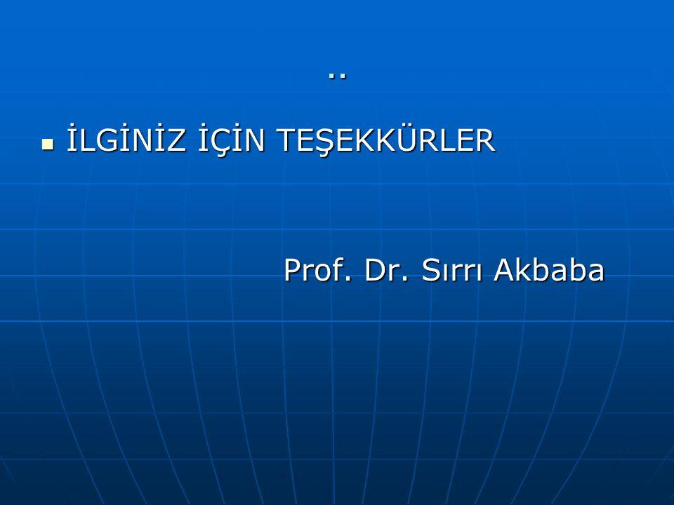 .. İLGİNİZ İÇİN TEŞEKKÜRLER İLGİNİZ İÇİN TEŞEKKÜRLER Prof. Dr. Sırrı Akbaba Prof. Dr. Sırrı Akbaba