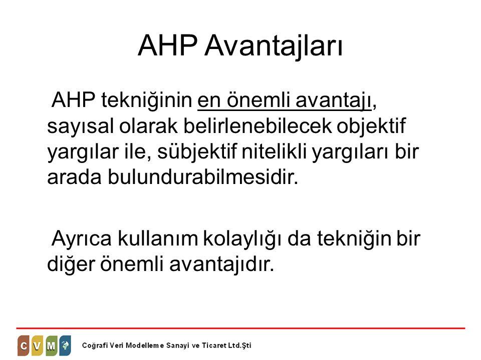 AHP Avantajları AHP tekniğinin en önemli avantajı, sayısal olarak belirlenebilecek objektif yargılar ile, sübjektif nitelikli yargıları bir arada bulu